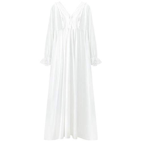 STJDM Nachthemd,Nachtwäsche im Palaststil Damen Baumwolle Mittelalterliches Nachthemd Weiß Tiefer V-Ausschnitt Langes Prinzessin Nachtkleid Plus Size Dessous XL Weiß