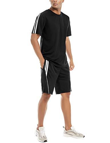 Aibrou Conjunto de Chándal Corto Raya Hombre ,Verano Camiseta Manga y Pantalon Transpirable y de Secado rápido ideal para Gym Correr Trotar Caminar