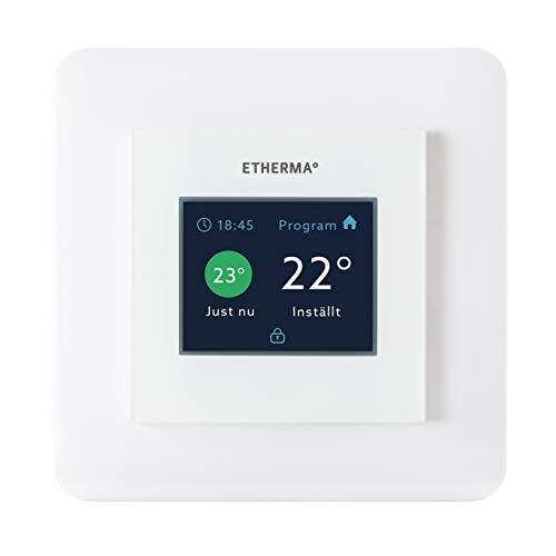 ETHERMA eTOUCH-eco Thermostat (zum Schaltereinbau) mit Touchpad, Farbe: weiß Hochglanz, Temperaturbereich 5-35 Grad, Maße 55 x 55 mm, Ökodesign-Richtlinien konform, eTOUCH-eco