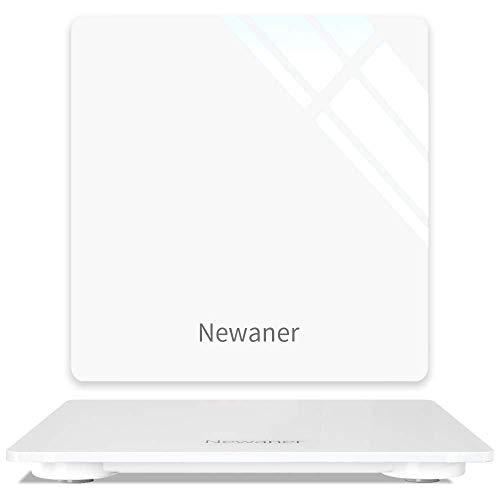 Newaner báscula digital, báscula de baño digital, con pantalla LCD, compacta, capacidad de 5 kg - 180 kg, plataforma de vidrio, con Tecnología Step-On,apagado automático e incluye pilas, blanco