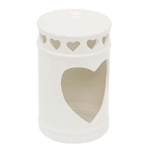 Carousel Home Gifts Ceramic Cylinder Essential Oil Fragrance Burner | Oil Burner Tealight Heart Candle Holder | Aromatherapy Lamp