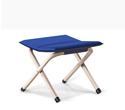 JUNSHUO Utomhus hopfällbar stol, bärbar hopfällbar pall förtjockad stol fiske vikbar pall vuxen utomhus tåg liten bänk sko byte pall, mini ultralätt bänk, blå, stor