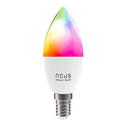 Nous P4 Smart WLAN LED Lampe Wifi Glühbirne E14 RGB Birne Kompatibel mit Amazon Alexa Echo Google Home Assistant Kein Hub Erforderlich Dimmbar Warmweiß bis Tageslicht 4,5 W 2700K-6000K 380LM (1)