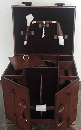 Casa Padrino Rindsleder Minibar/Kofferbar mit Zubehör Cognac Braun 41 x 32,5 x H. 37 cm Qualität