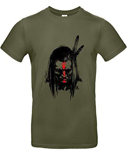 Smilo & Bron Herren T-Shirt mit Motiv Geronimo Indianer-Krieger Bedruckt Grün Urban Khaki L