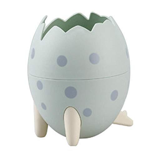 Honton Papelera de dibujos animados, creativa, con forma de huevo de dinosaurio, cesta de almacenamiento de escritorio, con base para mujeres, niñas, niños, amigos, regalo verde