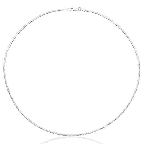 Collar cadena pulsera tobillera Tipo Omega Serpiente de fina plata de ley 925 1mm Bisutería Italiano Mujer Hombre - 30, 35, 40, 45, 50, 55, 60cm