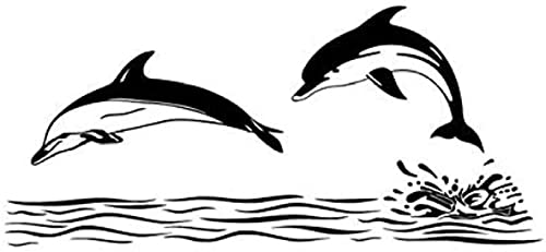 Adhesivo de pared, calcomanía artística, decoración, doble delfín, decoración del hogar, azulejo de baño, impermeable, 59x131 cm