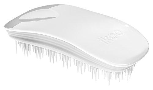ikoo Home White Classic - Detangler Bürste, Brush, Massage Haarbürste, weiche Borsten, Entwirrbürste für lange Haare, Wet Brush, Entwirrungsbürste, einfaches Entwirren der Haare, Kämmen ohne Ziepen