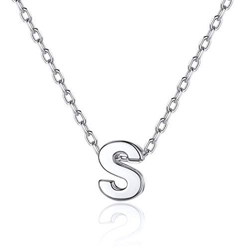 Initial Pendant Sterling Silver, Sterling Silver Personalized Alphabet A-Z Dainty Pendants Minimalism Jewelry for Women Girls, Love Gifts for Her (Send Gift Box)-Silver