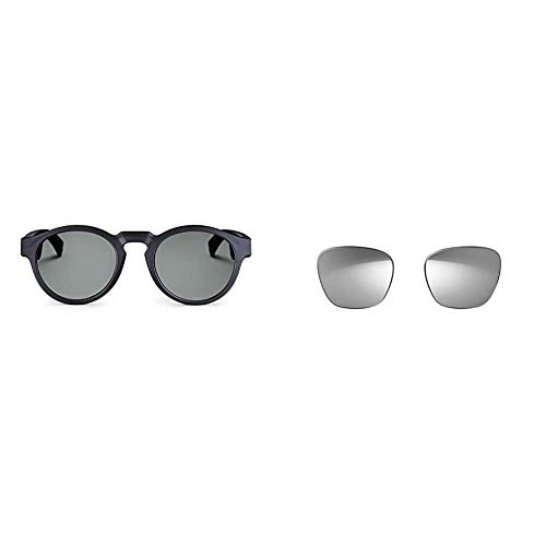 Bose 833417-0100 Frames - Audio Sunglasses with Open Ear Headphones, Rondo, Black - with Bluetooth Connectivity,Regular & Frames Lens Collection, Mirrored Silver Alto Style (Polarized), Medium