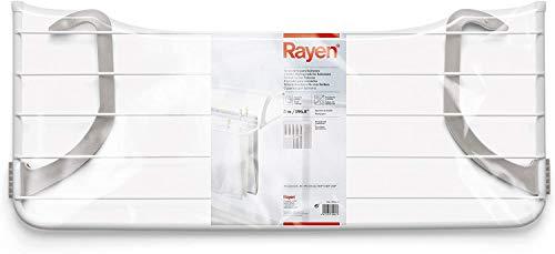 Rayen 54,5 x 35 x 13,5 cm radiadores y Balcones | Tendedero para pequeñas coladas | Superficie de Secado de 4 m | para Interior y Exterior, Acero Pintado, ABS, Blanco/Gris