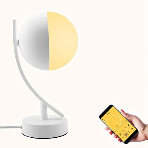 MJLOMJ Lámpara Escritorio LED, Lámpara de Luna Inteligente WiFi Inalámbrica, Control Voz, Ajuste Gratuito de la Iluminación RGB, Operación de Aplicaciones Móviles, Soporte a Alexa y Google Home