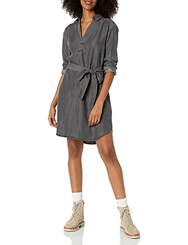Amazon Brand - Daily Ritual Women's Tencel Henley Dress, Washed Black , Large