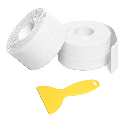 Caulk Strip Tape, 2 Pack PVC Waterproof Self-Adhesive Tape for Bathtub Bathroom Shower Toilet Kitchen Sink Floor Wall Corner Edge Sealing Protector with Sealant Tool, White (W:38mm L:11Ft)