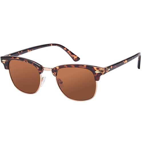 EFE Gafas de Sol Polarizadas mujeres y Hombres Neutrales Polaroid Retro y Moda Ovalada Estilo para Conducir Deporte al Aire Libre Excursión Marrón