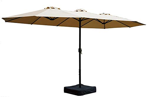Kozyard Butterfly 15ft Outdoor Patio Double-Sided Aluminum Umbrella with Crank and Base (Beige)