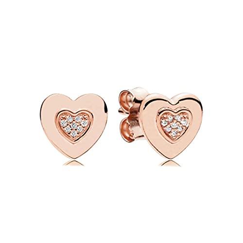 TIANGUO Pendientes de Plata de Ley 925 con Forma de corazón Brillante, Pendientes de árbol de la Vida, joyería de Moda Adecuada para Que Las Mujeres la usen