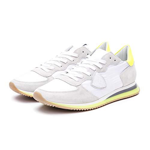Philippe Model Sneakers Uomo Paris TZLU WFF1 Blanc Jaune Camoscio Bianco