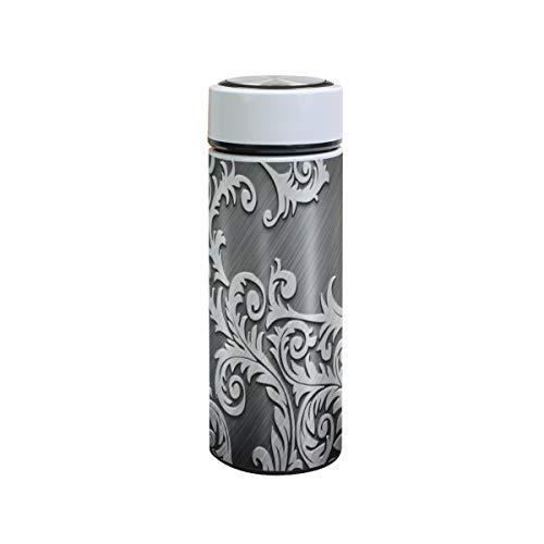 XiangHeFu Rattan Metall Silber Wasserflasche Kaffee Thermoskanne 12oz Sportlecksicher Halten Sie kalt oder heiß Reisebecher