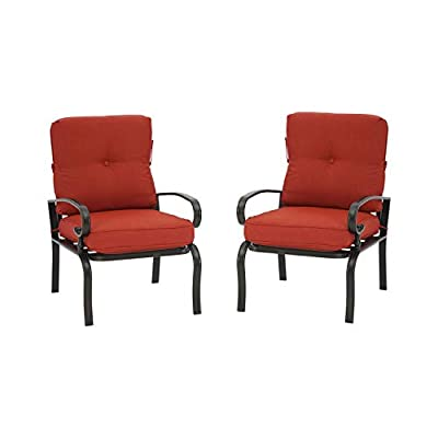Patiomore 2 Pcs Outdoor Patio Dining Chairs Bistro Set Wrought Iron Furniture Set, All-Weather Garden Seating Chair with Red Cushions