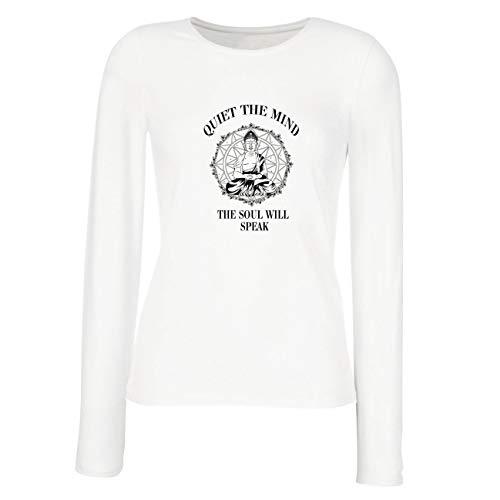 lepni.me Weibliche Langen Ärmeln T-Shirt Budha Quotes Yoga Meditation Spiritual Positive Vibes (Large Weiß Mehrfarben)