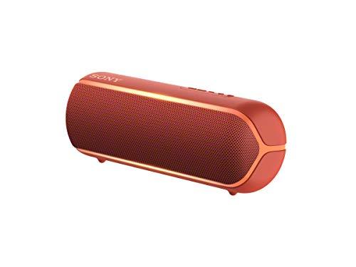 Sony SRS-XB22 Speaker Compatto, Portatile, Resistente all'Acqua con EXTRA BASS e Luci, Rosso