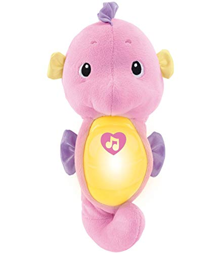 Fisher-Price Soothe & Glow Seahorse, pink, plush toy with music, ocean sounds and lights for baby