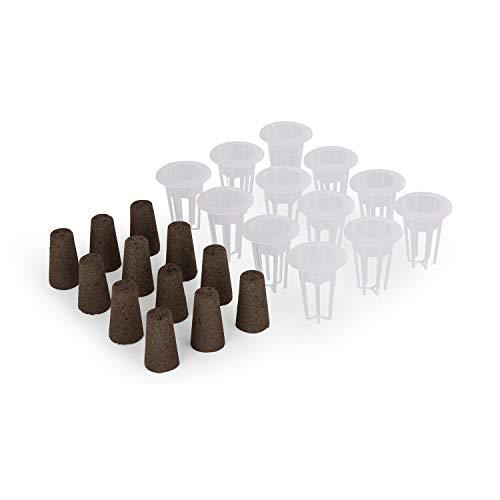 Blumfeldt Urban Bamboo reFresh Kit Système de plantation hydroponique, Set d'accessoires : 12 x panier de plantation & 12 x éponge de plantation