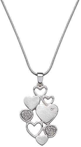 Perlkönig Schlangen Kette Halskette | Damen Frauen | Verbundene Herzen in Silber| Matt Strukturiert | Glitzer Steine | Karabiner | Nickelabgabefrei