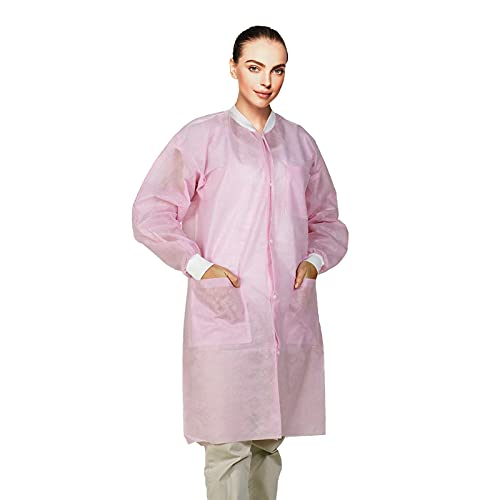 EZGOODZ Disposable Lab Coats. Pack of 10 Light Pink SPP 45 gsm Work Gowns Medium. Protective Clothing with Snaps Front, Knit Cuffs & Collar, 3 Pockets. Unisex Knee-Length Medical Uniform for Adults.