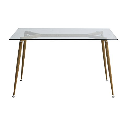 Retro Dining Table Glass Kitchen Table Metal Legs Wooden Grain Finish - EBS Tempered Glass Wood Table