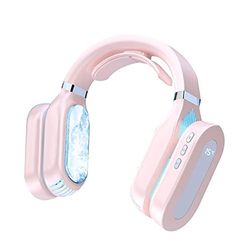 SIGNABOT Ventilador de Cuello Colgante Aire Acondicionado MóVil Banda para el Cuello Sin Hojas Ventilador PortáTil CalefaccióN Instrumento de Enfriamiento Enfriador de Aire LED (Rosa)