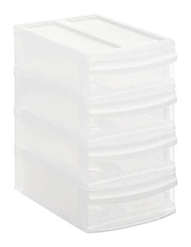 Rotho Systemix Schubladenbox mit 4 Schüben, Kunststoff (PP) BPA-frei, transparent, XS/A6 (19,6 x 14,1 x 23,3 cm)