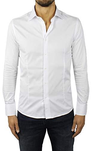 Camicia Uomo Elegante Slim Fit Avvitata in Cotone Collo Classico (Bianco, S)