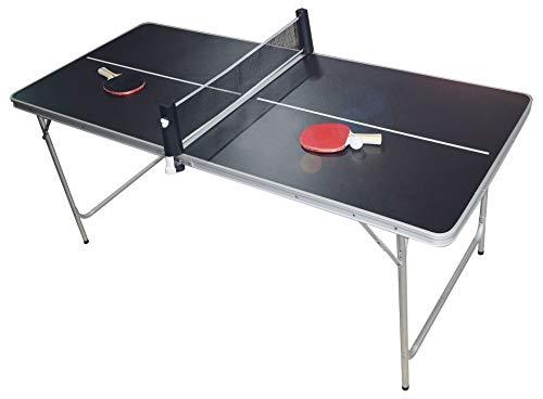 PingPong-Classics Klappbare Tischtennisplatte, HBT: 180 x80 x76 cm, tragbar inklusive Netz, 2 Schläger, Ballhalter & 6 Bälle