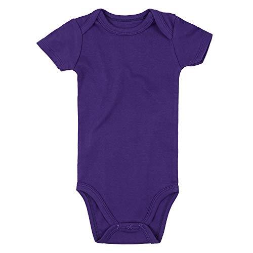 ROMPERINBOX Unisex Solid Baby Bodysuit 0-24 Months (3-6 Months, Purple Short Sleeve)