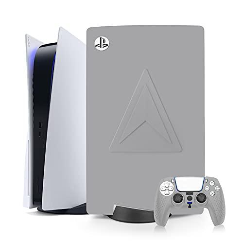 Cubierta Antipolvo+Cubierta del Controlador para PS5,Cubierta de Silicona para Disco Playstation 5,Accesorios para PS5,Protectora Impermeable Antiarañazos Antigolpes (Gris)