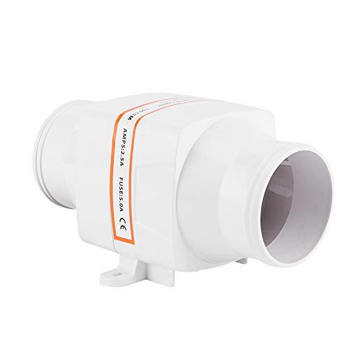 Yctze Ventilador de aire de sentina, 130CFM Ventilador de aire eléctrico en línea de sentina Cabezales de cocina blancos de 3 pulgadas Ventilador de ventilación del motor 12V ABS Accesorio para barcos