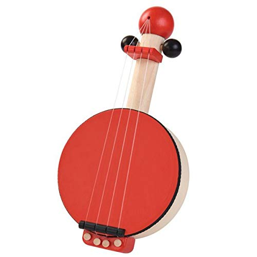 PlanToys Wooden Banjo Musical Toy Stringed Instrument (6411)   Sustainably Made from Rubberwood and Non-Toxic Paints and Dyes