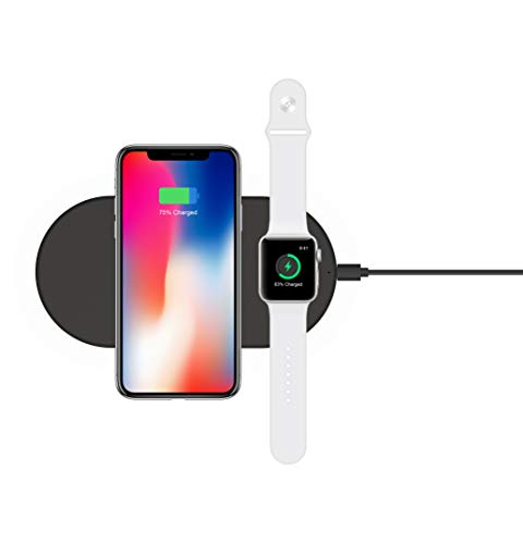 LEHOO Megnetic Wireless Portable Charger, 2 in 1 Qi Fasting Charging Pad with Watch Holder Compatible with Apple Watch Series 4/3/2/1 iPhone Xs/XS Max/XR/X/ 8/ Plus Airpods - Black