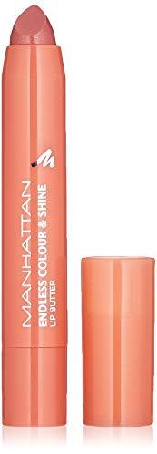Manhattan Endless Colour & Shine Lip Butter - Pintalabios con brillo de color rosa de larga duración, color Blushing Crush 110, 1 x 3 g