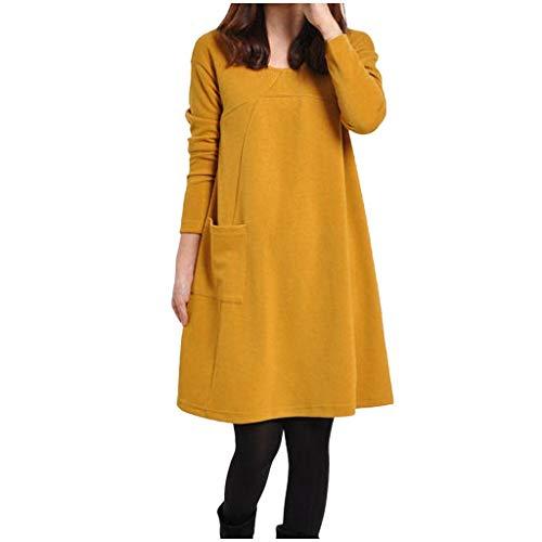 NPRADLA 2019 Damen Kleid Plus Größe Pocket Button Langarm Baumwolle Und Leinen Lose Langes