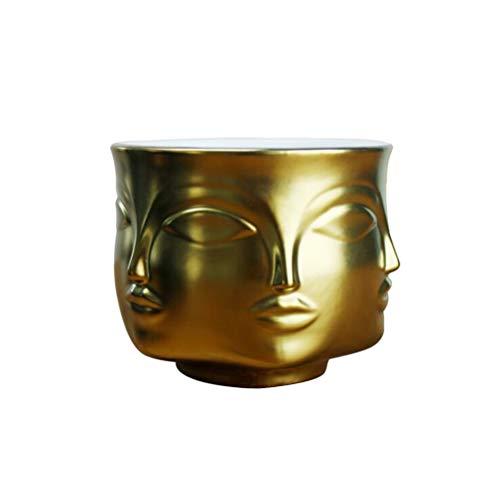 Yardwe Vase de Fleurs Moderne en céramique pour Pots de Fleurs 13 x 13 x 9,5 cm Doré