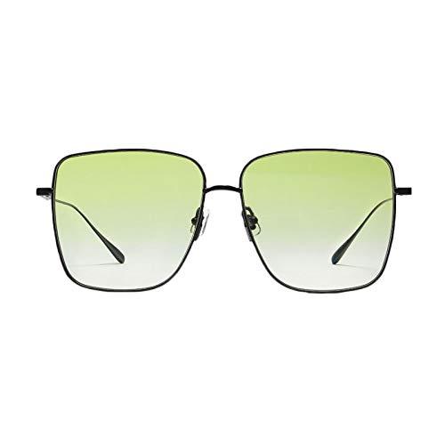 HYwang Gafas De Sol Cara Lisa, Color Transparente, Montura Grande, Protección Para Los Ojos, Cara Redonda Grande, Verde, Protección Uv, Gafas De Sol