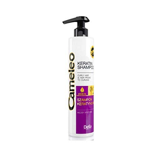 Cameleo Keratin Shampoo with Argan Oil for Curly Hair & Hair Prone to Curling - 0% Parabens, Salt & Colorants - PH 5,5 - 250ml by Cameleo
