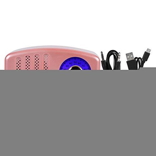 Mxtech 5-Zoll-Vollfrequenz-Papierkegel-Trompete USB-Lade-Super-Bass-Lautsprecher, tragbarer Lautsprecher, Innenbereich für zu Hause(Pink)