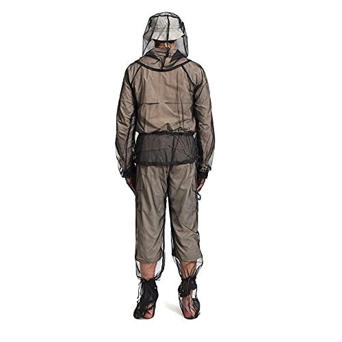Xmiral Imposta la rete traspirante per il tempo libero repellente per mordere all'aperto(1PC top + 1PC pantaloni + 1 paio di guanti + 1 paio di copriscarpe) ( M,4nero )