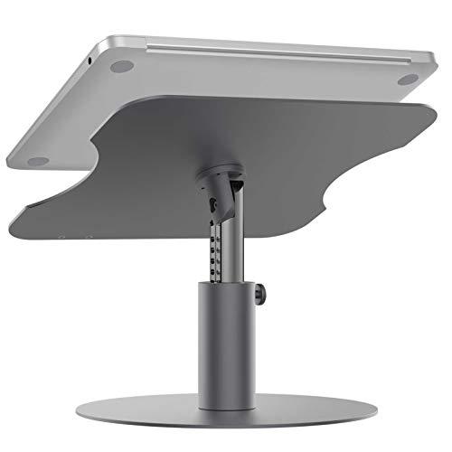 ノートパソコン スタンド Hesvin PCスタンド 高さ調節 角度調節 360度回転 ノートpc/ラップトップ/Macbook/Mac/Macbook Pro/タブレットなど17.3インチまで対応 腰痛/猫背解消 アルミ合金製 滑り止め 放熱性抜群