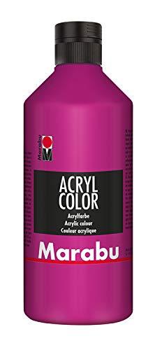 Marabu 12010075014 - Acryl Color magenta 500 ml, cremige Acrylfarbe auf Wasserbasis, schnell trocknend, lichtecht, wasserfest, zum Auftragen mit Pinsel und Schwamm auf Leinwand, Papier und Holz